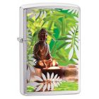 Buddah Zippo Lighter in Brushed Chrome 29058