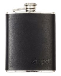 6oz Genuine Leather Wrapped Zippo Hip Flask 177ml