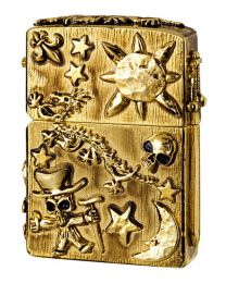 Golden Metal Jacket Skulls Zippo Lighter 2005957