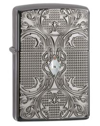 Armor Deep Carve Crystal Zippo Lighter in Black Ice 28956