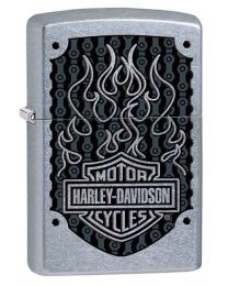 Harley Davidson Flame Logo Zippo Lighter in Street Chrome 29157
