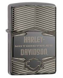 Harley Davidson Armor Carved Zippo Lighter in Black Ice 29165