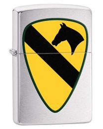 US Army 1st Cavalry Zippo Lighter in Brushed Chrome 29184