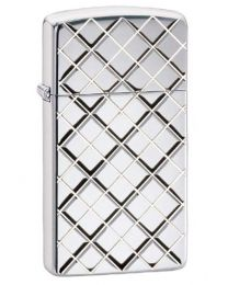 Slim Armor Argyle Zippo Lighter in Polished Chrome 29186