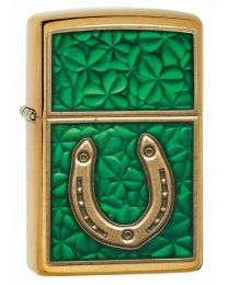 Horseshoe & Clovers Zippo Lighter in Brushed Brass 29243