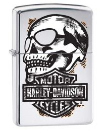 Harley Davidson Skull Zippo Lighter in Polished Chrome 29281
