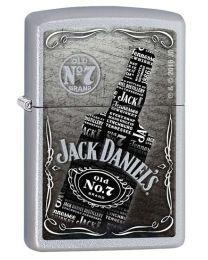 Jack Daniels Bottle Zippo Lighter in Satin Chrome 29285