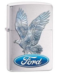 Ford Eagle Zippo Lighter in Brushed Chrome 29296