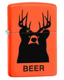 BEER Bear Deer Zippo Lighter in Neon Orange 29343