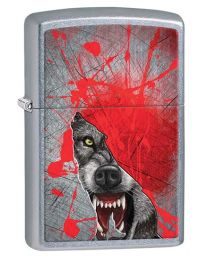 Wolf Face in Sillhouette Zippo Lighter in Street Chrome 29344