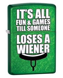 Loses A Wiener Zippo Lighter in Meadow Green 29345