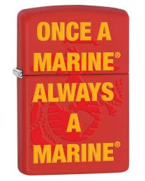 Always A Marine Zippo Lighter in Red Matte 29387