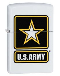 US Army Star Zippo Lighter in White Matte 29389