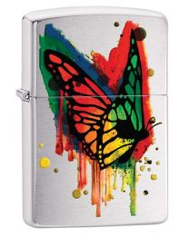Butterfly Paint Zippo Lighter in Brushed Chrome 29392