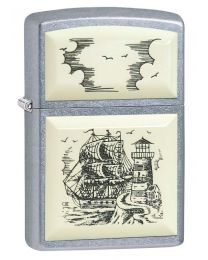 Scrimshaw Ship Zippo Lighter in Street Chrome 29397