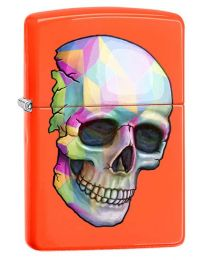 Neon Zippo Skull Zippo Lighter in Neon Orange 29402