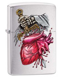 Sword Through The Heart Zippo Lighter in Brushed Chrome 29406