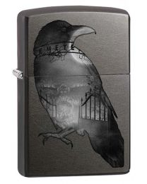 Spooky Crow Raven Zippo Lighter in Gray Dusk 29407