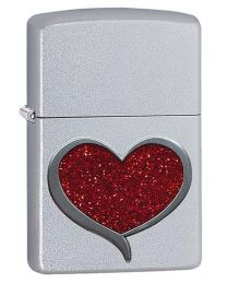 Glitter Heart Emblem Zippo Lighter in Satin Chrome 29410