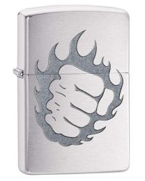 Tattoo Fire and Fist Zippo Lighter in Brushed Chrome 29428