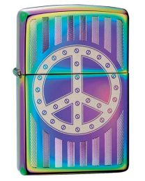 Rivet Peace Sign Spectrum Zippo Lighter 29435