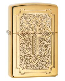 Armor Deep Carve Cross Zippo Lighter in Polished Brass 29436