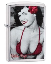 Bettie Page Red Rose Zippo Lighter in Brushed Chrome 29439
