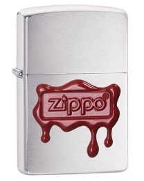 Zippo Red Wax Seal Zippo Lighter in Brushed Chrome 29492