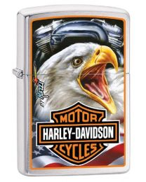 Harley Davidson Eagle Zippo Lighter in Brushed Chrome 29499