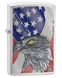 USA Flag With Eagle Emblem Zippo Lighter in Brushed Chrome 29508