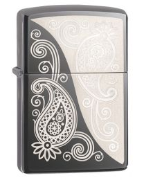 Paisley Design Zippo Lighter in Black Ice Chrome 29511