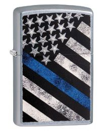 Blue Line Flag Police Zippo Lighter in Street Chrome 29551