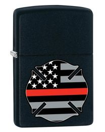Red Line Flag FireFighter Zippo Lighter in Black Matte 29553