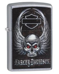 Harley Davidson Skull & Wings Zippo Lighter in Street Chrome 29558