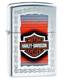 Harley Davidson Chain Frame Zippo Lighter in Polished Chrome 29559