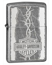 Harley Davidson Barbed Zippo Lighter in Antique Silver Plate 29560