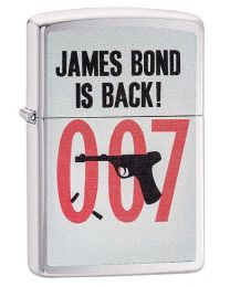 James Bond Is Back Zippo Lighter in Brushed Chrome 29563