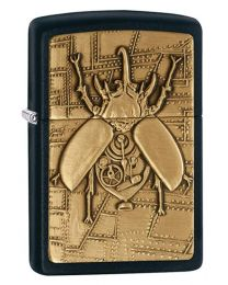 Steampunk Beetle Emblem Zippo Lighter in Black Matte 29567