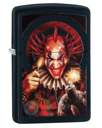 Anne Stokes Evil Clown Zippo Lighter in Black Matte 29574