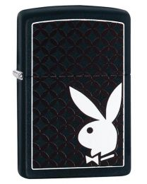 Playboy Bunny & Border Zippo Lighter in Black Matte 29578