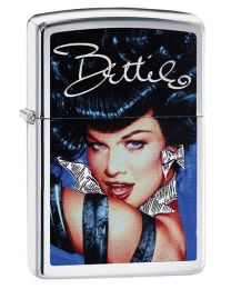 Bettie Page Blue Zippo Lighter in Brushed Chrome 29584