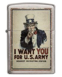 US Army Poster Zippo Lighter in Brushed Chrome 29595