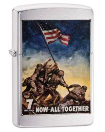 US Marines Poster Zippo Lighter in Brushed Chrome 29596