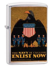 US Navy Poster Enlist Now Zippo Lighter in Brushed Chrome 29597