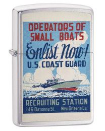 US Coast Guard Poster Zippo Lighter in Brushed Chrome 29598