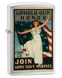 US Army Navy Marines Poster Zippo Lighter in Brushed Chrome 29599