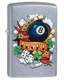 Lucky Tattoo Zippo Lighter in Street Chrome 29604