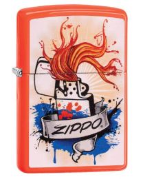 Zippo Splash Zippo Lighter in Neon Orange 29605