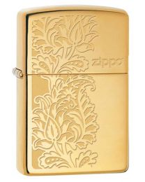 Paisley Zippo Design Zippo Lighter in Polished Brass 29609