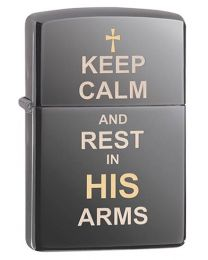Keep Calm Design Zippo Lighter in Black Ice 29610